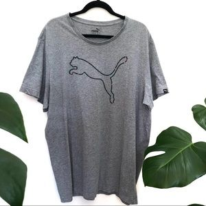 Puma Men's Grey T-Shirt Puma Logo Sports Sz XXL